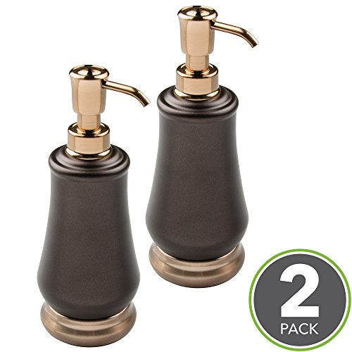 Bronze Decorative Soap Dispenser (mDesign Liquid Soap Dispenser Pump Bottle for Kitchen Sink, Bathroom Vanity Countertops: Also for Hand Lotion & Essential Oils - Pack of 2, Steel Body in Pearl Bronze/Champagne Pump and Base)