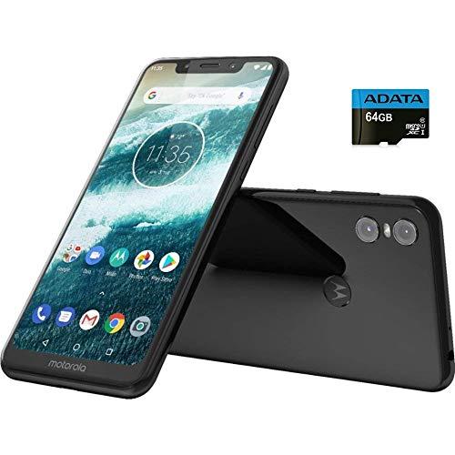 "Moto One with Android One (64 GB) 5.9"" Max Vision HD+, NFC, Dual Rear Camera, Dual SIM GSM Unlocked Smartphone (International Version) (Black, 64GB + 64GB SD Bundle)"