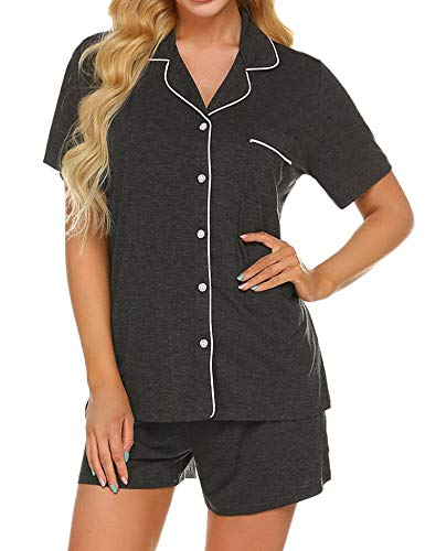 Ekouaer Women's Pajama Short Set Soft Summer Cotton Pjs(Deep Flower Gray,Large)