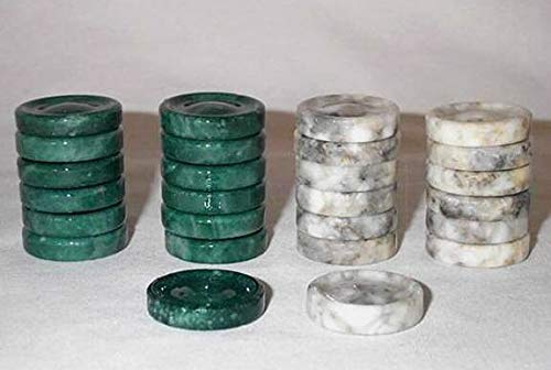 Quality Stone Backgammon Pieces, Replacement Backgammon Chips or Checkers - 1.25 Inch, Green and Gray