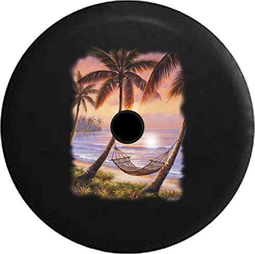 (Pike Outdoors JL Series Spare Tire Cover Backup Camera Hole Palm Trees Hammock The Beach Ocean Island Black 33 in)
