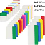 KIMCOME File Index Tabs 1,2,3 Inch Sticky Flags 480 Pieces, Colored Page Markers Self Adhesive, Writable Note Tabs for Binders, Books, Paper, Notebooks, Filing, Folders [3 Sizes, 24