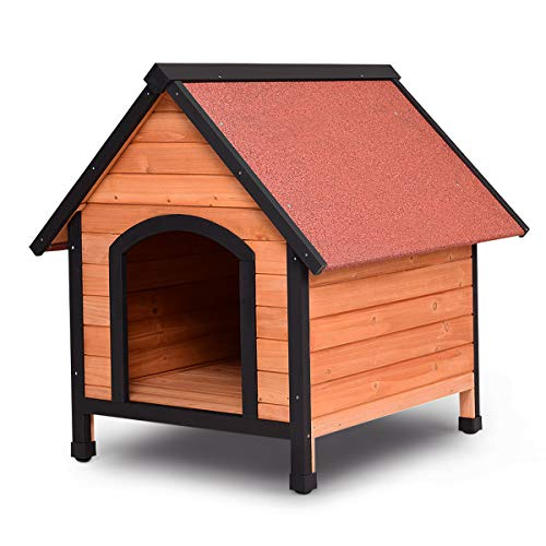 (Tangkula Dog House, Wooden Pet Kennel, Outdoor Weather Waterproof Pet House, Natural Wooden Dog House Home with Reddish Brown Roof, Pet Dog House (Medium))