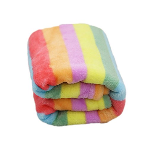 Pet Kitten Cat Puppy Dog Rainbow Stripe Flannel Soft Warm Blanket Mat Cover S