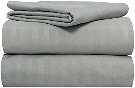 Sam Linens Juego de sábanas de 2000 hilos, 100% algodón egipcio, diseño de rayas, color gris: Amazon.es: Hogar
