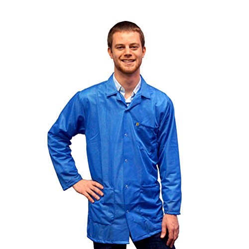- StaticTek Full Sleeve Snap Cuff ESD Jacket | Anti-Static Lab Coat | Certified Level 3 Static Shielding | Light Weight | ESD Smocks with High ESD Protection | Large | Light Blue | TT_JKC9024SPLB