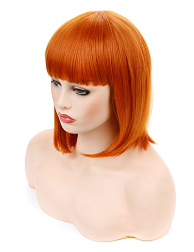 Morvally Short Straight Neat Bangs Bob Wigs Natural Looking Synthetic Hair Wig for Cosplay Costume Halloween (12 inches 2735# Orange)]()