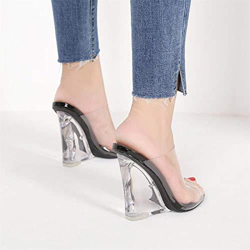 fbe22b17268 MACKIN J 405-1 Women s TPU Lucite Clear Wedge Heel Open Toe Slip On Mule