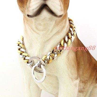 Length (inches)  34 recommend dog's neck 30 Width (inches)  15mm Silver&gold Length (inches)  34 recommend dog's neck 30 Width (inches)  15mm Silver&gold FidgetGear Silver gold Silver&gold Flat Curb Link Stainless Steel Dog Chain Collar 12 -36  34  Recomm
