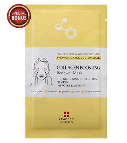 Leaders Collagen Boosting Renewal Medical Grade Treatment Mask | Anti-Aging & Lifting | Premium Collection with Concentrated Serum | Professional Remedy 10 Sheets -Momoko (Anti Aging Collection)