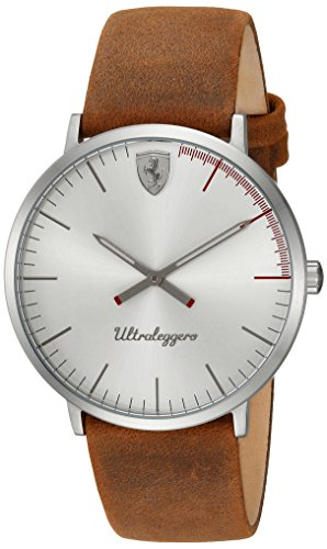 Ferrari Men's 'ULTRALEGGERO ULTRA SLIM' Quartz Resin and Leather Casual Watch, Color:Brown(Model: 0830405)
