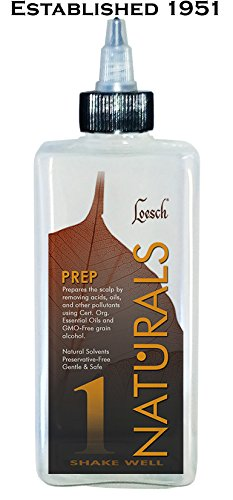 10 oz Loesch Naturals Prep Step 1, a prewash treatment that prepares the scalp by removing acids, oils, and other pollutants using certified organic oils and GMO-free grain alcohol, gentle and safe.
