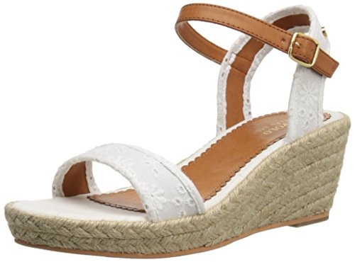 Polo Ralph Lauren Kids Carmen Eyelet W/Jute Fashion Wedge Sandal (Little Kid/Big Kid), Ivory, 7 M US Big Kid
