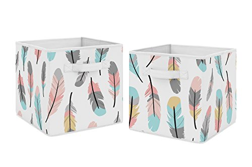 (Turquoise and Coral Boho Feather Foldable Fabric Storage Cube Bins Boxes Organizer Toys Kids Baby Childrens for Collection by Sweet Jojo Designs - Set of 2)