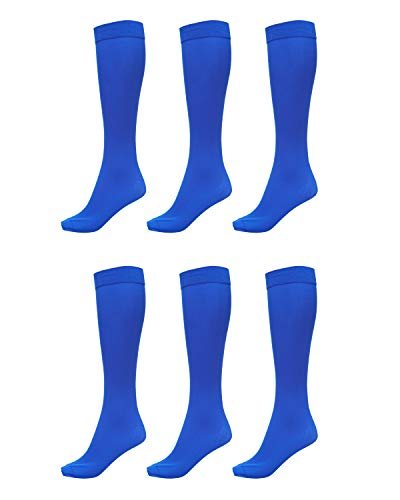 6 Pack of Women Trouser Socks with Comfort Band Stretchy Spandex Opaque Knee High, Royal, 9-11