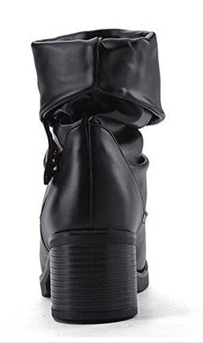 Boots CHFSO Womens Chunky Mid Cuff Round Warm Slouchy Black Heel Solid Toe Mid PZAxP6r