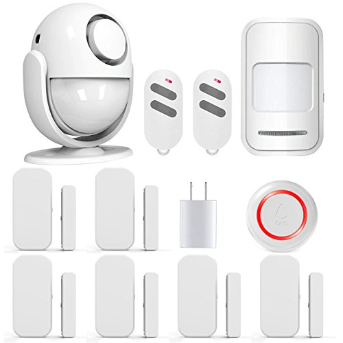 Home Alarm System - PANNOVO Wireless Home Security Alarm System Door Alarm System for Home DIY Kit,Supports Amazon Alexa, App Control by iOS Andrioid Smartphone with PIR Motion Sensor,Door Contact Sensor, White