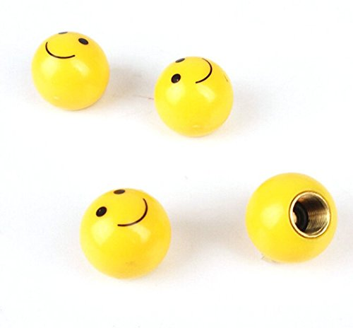 MM Auto USA Vehicle [Qty: 1] Set of 4 Yellow Smiley Face Shaped Tire Valve Stems