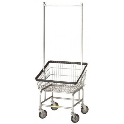 R&B Wire 200S56 Large Capacity Front Loading Wire Frame Metal Laundry Cart with Double Pole Rack - 3.75 Bushel Capacity - Chrome Front Loading Laundry Cart
