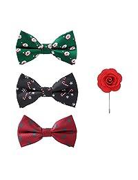 Handmade Christmas Xmas Bow Tie Sets Flower Brooch 3+1 PCS