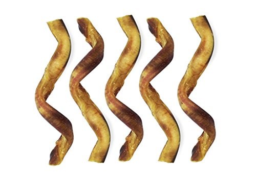 Healthy & Natural Bully Sticks for Dogs - Spiral Beef All Breeds Puppy Treats - Training Reward Snacks for Puppies - Long Lasting Chews for Canines - Low Odor Meaty Pet Treat - Dog Chew Stick 5-Pack