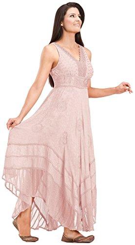 [HolyClothing Norma Jean Empire Waist Lace Boho Maxi Sun Dress - Small - Pink Rose] (Pink Renaissance Dress)