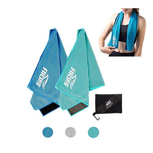 FIILINE Cooling Towel Sports Travel Soft Yoga Ice Towels 2 Pack 40x 12 - Quick Dry Lightweight Instant Cold Towels for Running, Biking, Gym, Fitness Outdoor and More