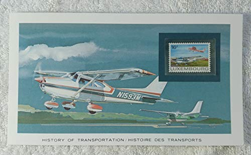 General Aviation - Postage Stamp (Luxembourg, 1981) & Art Panel - The History of Transportation - Franklin Mint (Limited Edition, 1986) - Cessna, Airplane, Aircraft