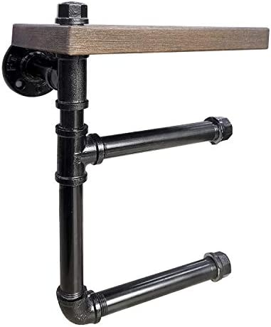 gotonovo Industrial Toilet Paper Holder Double Rolls with Wooden Shelf Rustic Cast Iron Pipe Hardware for Bathroom Washroom Wall Mounted Kit Wodden Display Holder