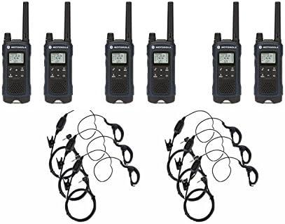 Motorola T460 Two-Way Radio Walkie Talkie 6 Pack with 6 Curl Earpieces