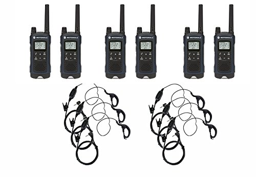 Motorola T460 Two-Way Radio Walkie Talkie 6 Pack with 6 Curl Earpieces