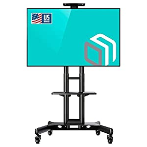 "ONKRON Mobile TV Stand with Mount Rolling TV Cart for 32"" – 65"" LCD LED Flat Screen TV with Wheels Shelves Height Adjustable TV  Trolley (TS15-51)"