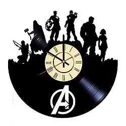 The Avengers Vinyl Clock Gift for Marvel Comics Fans Infinity War's Wall Decor Superhero Team Art Captain America Living Room Artwork