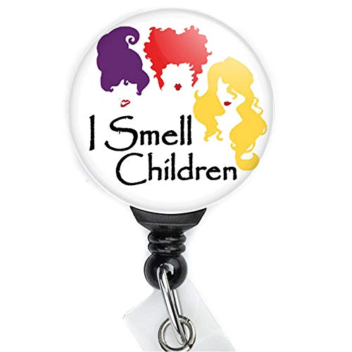 Halloween Hocus Pocus Sanderson Sisters Witches I Smell Children Retractable Badge Reel with Swing Clip and 36 Inch Cord