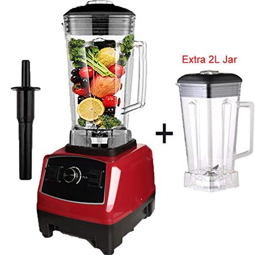 2200W Heavy Duty Commercial Blender Professional Blender Mixer,Red extra jar lid Plug