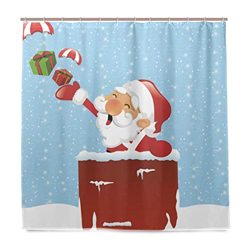 Lecintevro Up On The Rooftop Waterproof Polyester Fabric Bathroom Shower Curtain Set with Hooks 72 X 72 inches ()