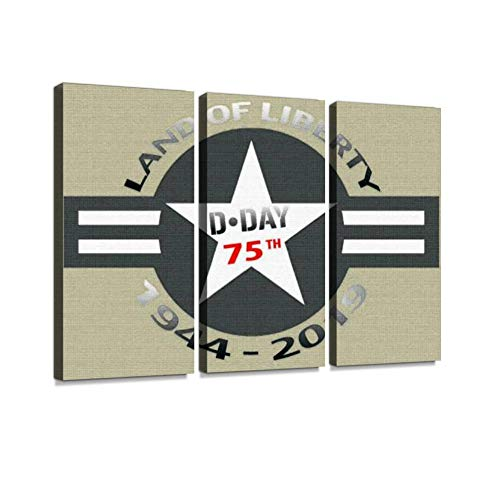 D-Day 75th Anniversary Print On Canvas Wall Artwork Modern Photography Home Decor Unique Pattern Stretched and Framed 3 Piece
