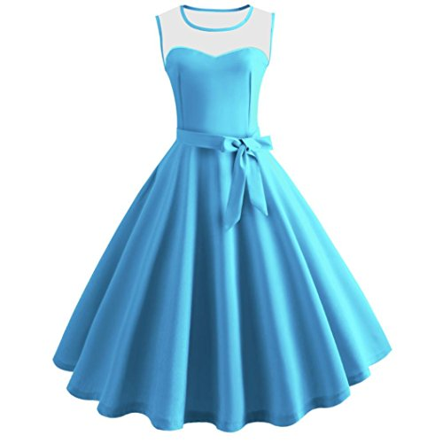 Women Dress Hot Sale Daoroka Vintage Retro Sexy Summer Sleeveless Evening Party Casual A Line Swing Pleated Bodycon Sundress With Sashes Skirt (S, Blue)