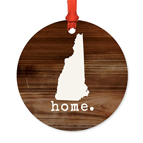 Andaz Press US State Round Metal Christmas Ornament, Rustic Wood Print, New Hampshire, 1-Pack, Includes Ribbon and Gift Bag - New Hampshire State Tree