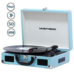 MUSITREND Tocadiscos Bluetooth, Reproductor de Vinilo 33/45/78, Reproductor USB/SD y Codificación, Conector para Auriculares de 3.5 mm y Entrada ...
