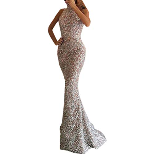 Women Hight Neck Bodycon Dress, lkoei Lady Sexy Sleeveless Sheath Dress Halter Cocktail Party Dress Hot Sale Prom Gown Floor-Length Dress (L, Pink) ()