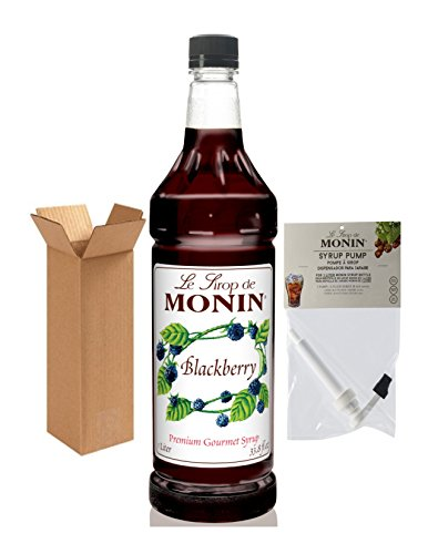 Black Raspberry Liqueur - Monin Blackberry Syrup, 33.8-Ounce Plastic Bottle (1 Liter) with Monin BPA Free Pump, Boxed.