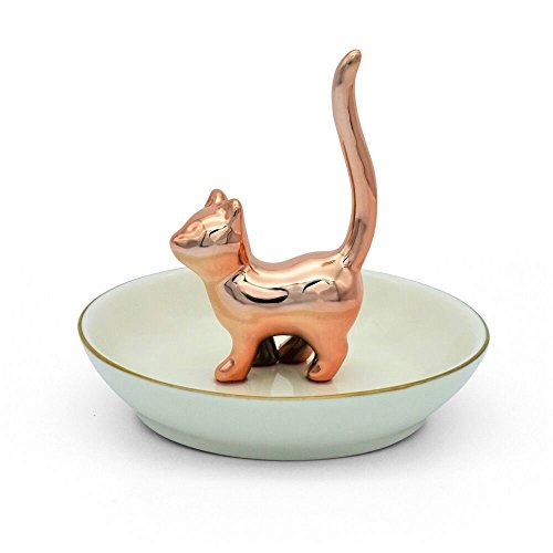 Exembe Rose Gold Kitty Ring Holder Ceramic Dish Jewelry Tray Trinket Cat Table Decor Stand