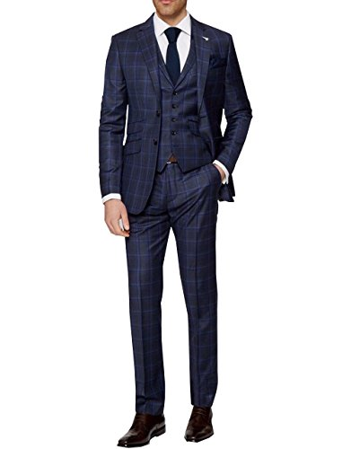 LoveeToo Dark Blue Plaid Wool Blend Men Wedding Suits Formal Best Man Two Buttons Blazer (44US/UK & 54EU-Jacket,38-Pants,Dark (Plaid Wool Blend Blazer)