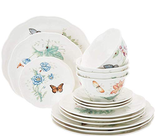 Lenox Butterfly Meadow 16 Pc Dinnerware Set 4 Dinner 4 Salad Accent 4 bowls 4 Party Snack plates New in box ()