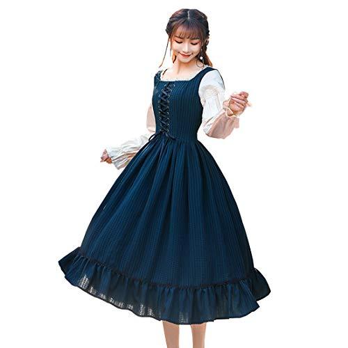 Nuoqi Sweet Victorian Lolita Dress Girls Lace-up Puff Pleated Swing Dress Dark Green]()