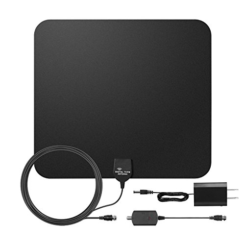 Amplified HDTV Antenna, E-More Indoor HDTV Antenna 50Miles Long Range Amplifier Signal Booster with Detachable Amplifier USB Power Supply Upgraded Version for Better Reception