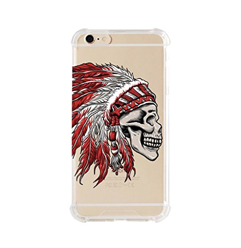 (iPhone 6/6s plus Shock Absorption Case (5.5 inch screen), skull indian chief Design)