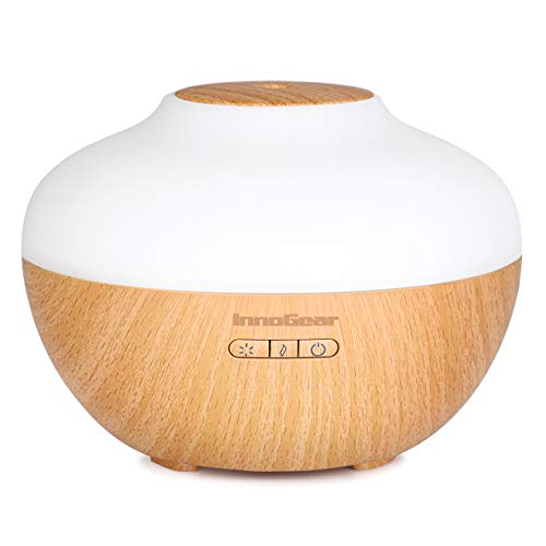InnoGear 2019 Premium 300ml Aromatherapy Essential Oil Diffuser Wood Grain Ultrasonic Cool Mist Humidifier with 7 Color LED Lights Waterless Auto Shut-off for Home Office Bedroom Yoga Spa (Best Ultrasonic Essential Oil Diffuser 2019)