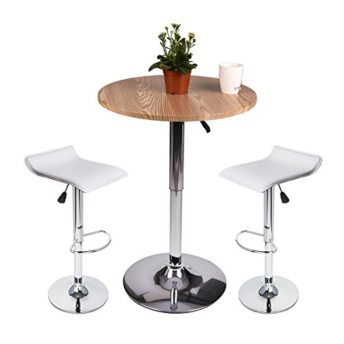 35 Inches Round Bar Table Adjustable Height Chrome Metal And Wood Cocktail Pub Table Mdf Top 360 Swivel Furniture  1 Row Wood Table  2 White Barstools